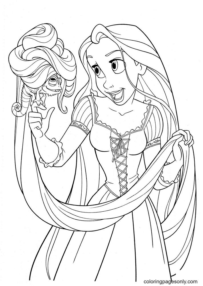 Rapunzel with Pascal Coloring Page
