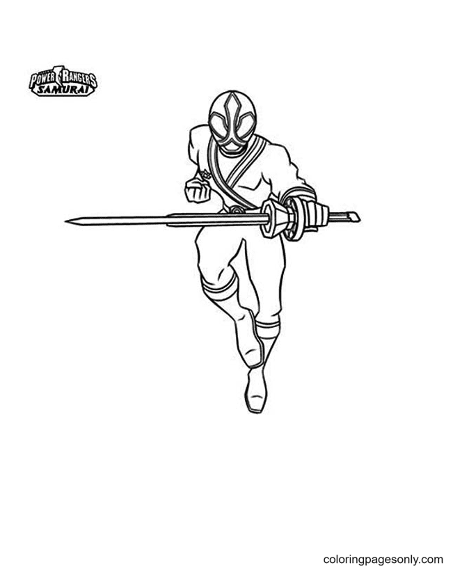Red Samurai Ranger Holds a Sword Coloring Page