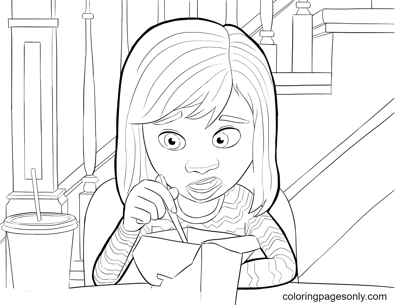 Riley Inside Out Disney Coloring Page