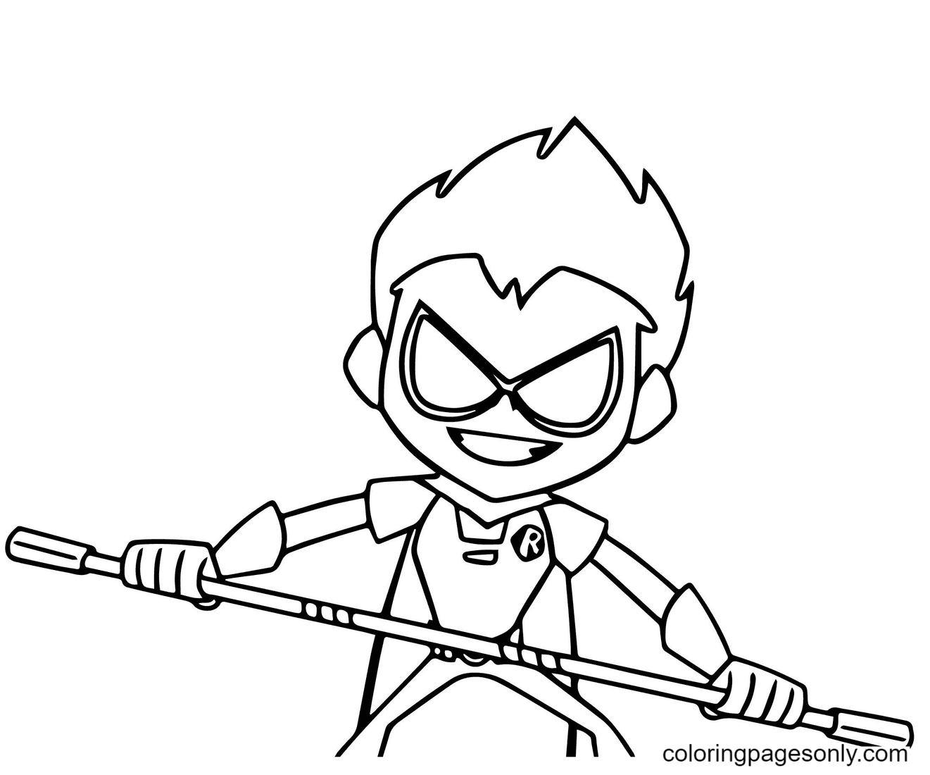 Robin Teen Titans Go try to defend himself Coloring Page