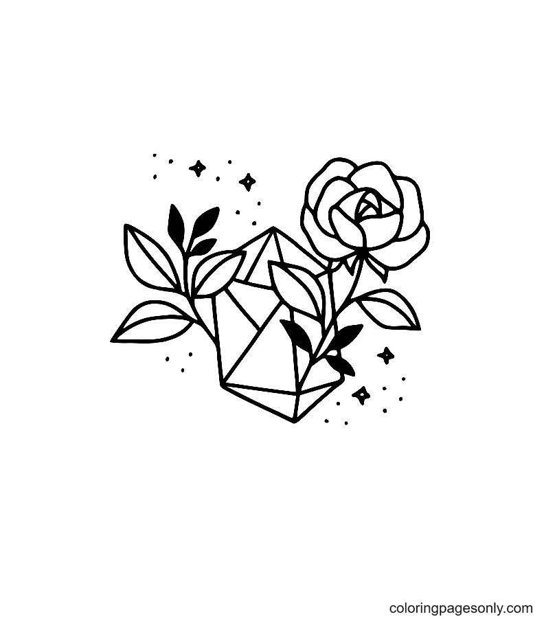 Rose flower and Crystal Coloring Page