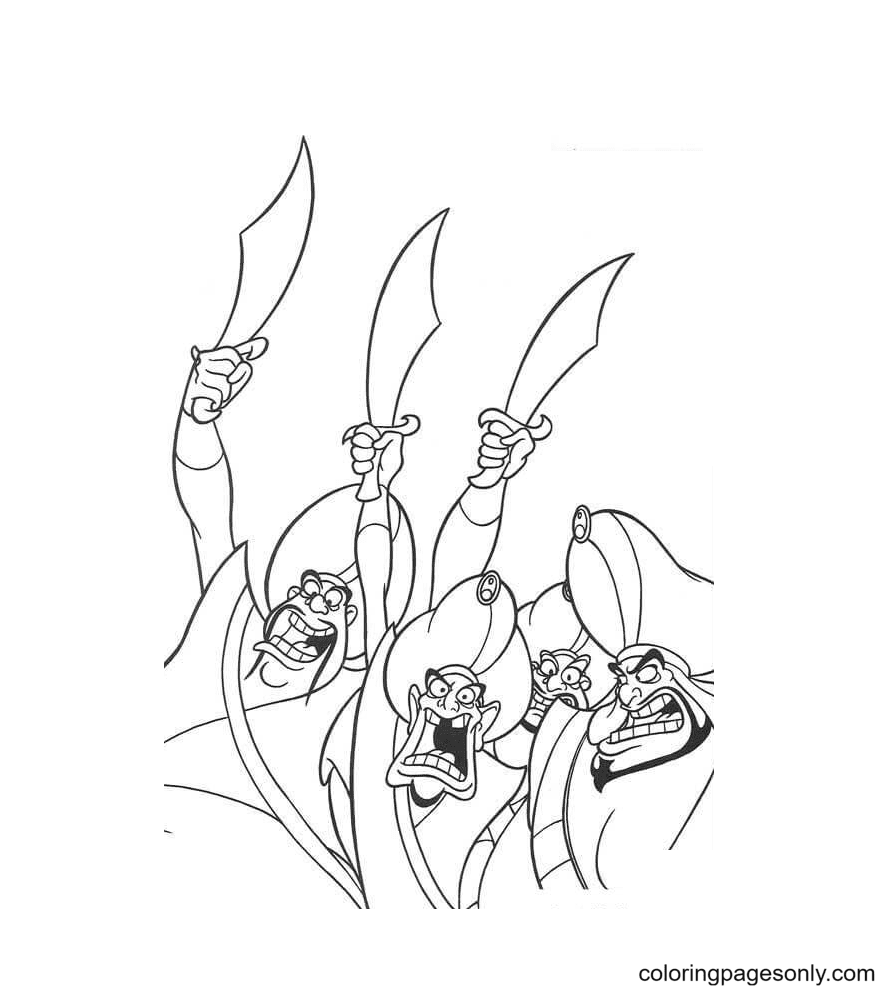 Royal Guards with Swords Coloring Page