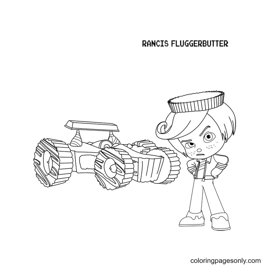 Rrancis Fluggerbutter and His Racing Car Coloring Page