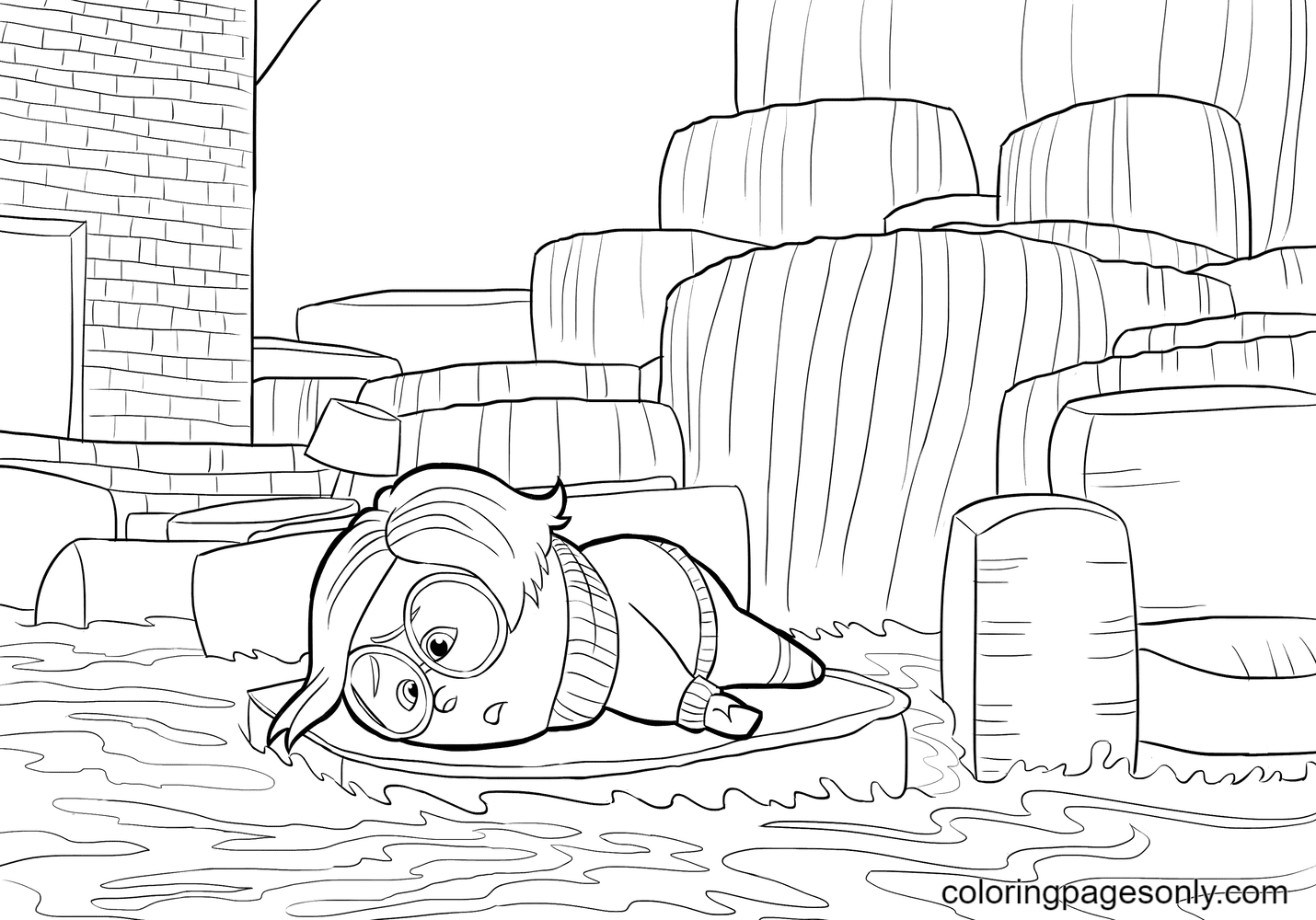 Sadness From Inside Out Coloring Page