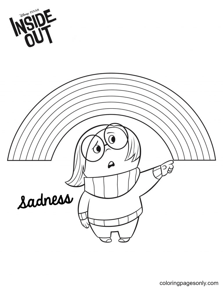 Sadness and rainbow Coloring Page