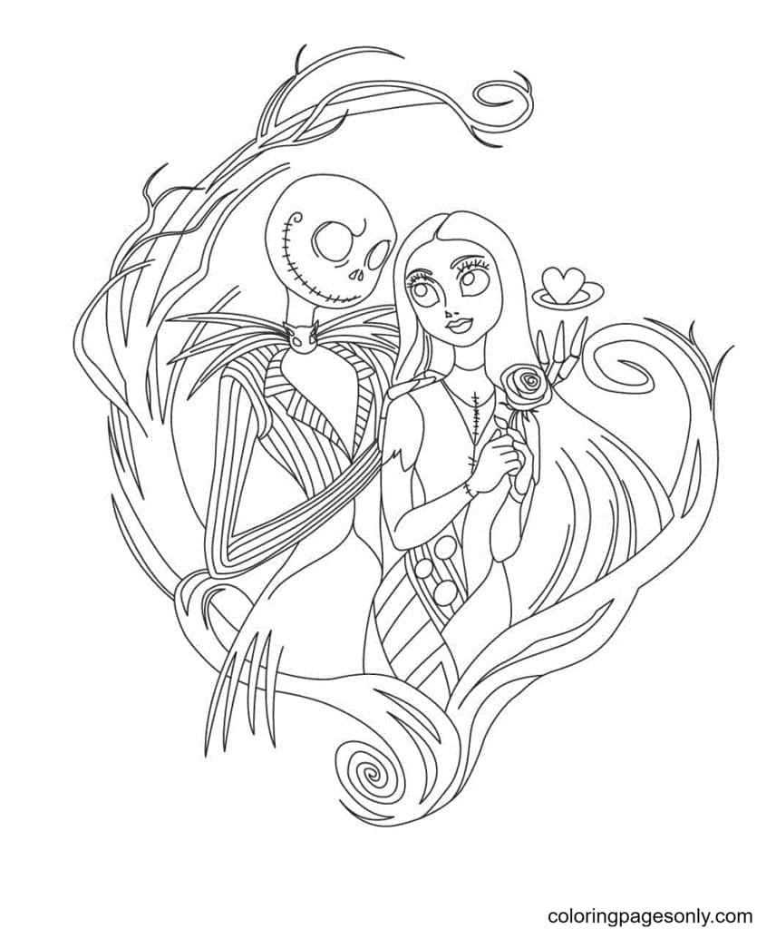 Sally And Jack Skellington Coloring Page