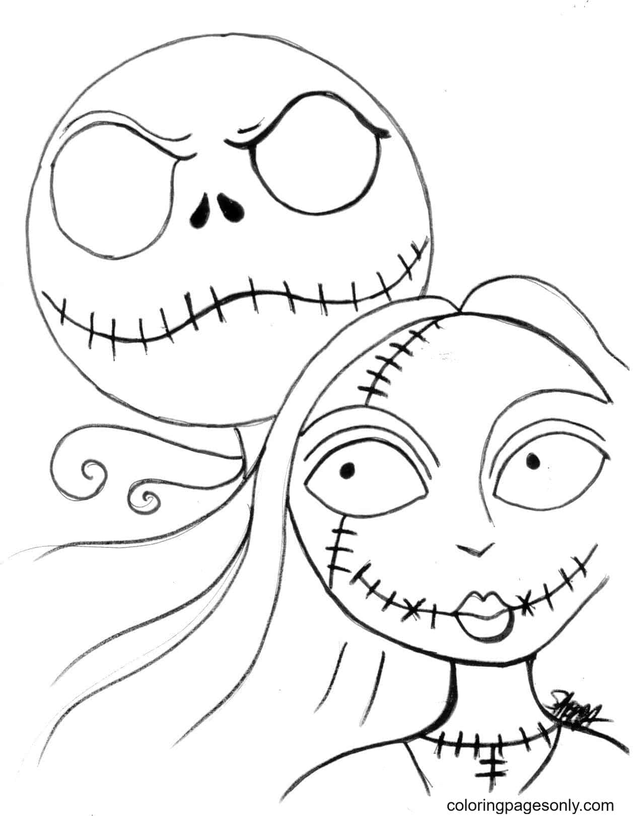 Sally And Jack Coloring Page