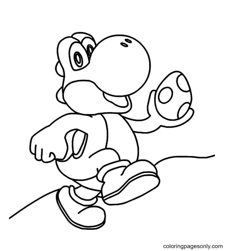 See what a beautiful egg Yoshi have Coloring Page