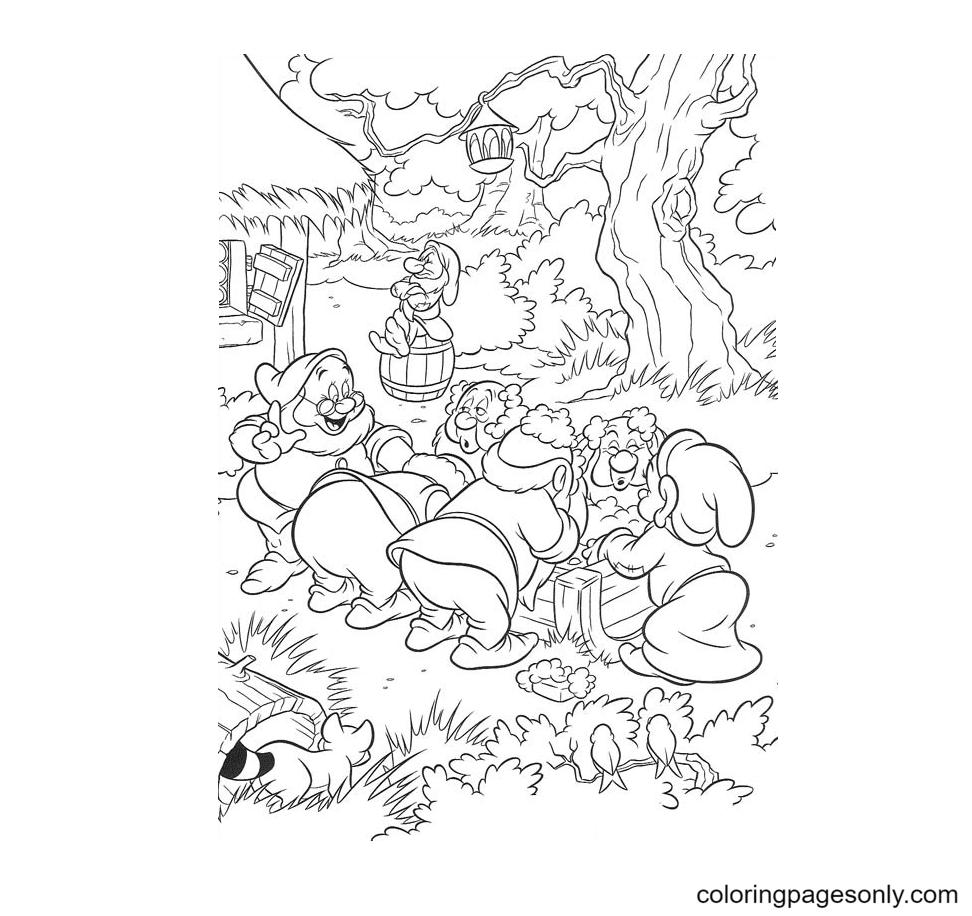 Seven Kind Dwarfs Coloring Page