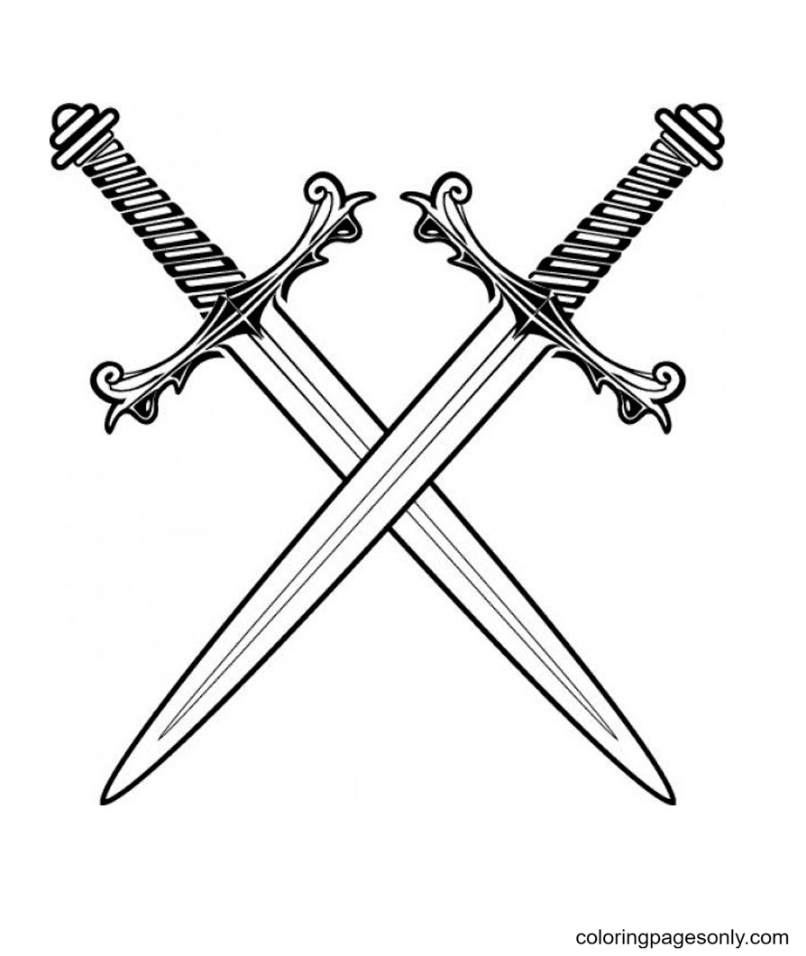 Sharp and Unique Sword Coloring Page