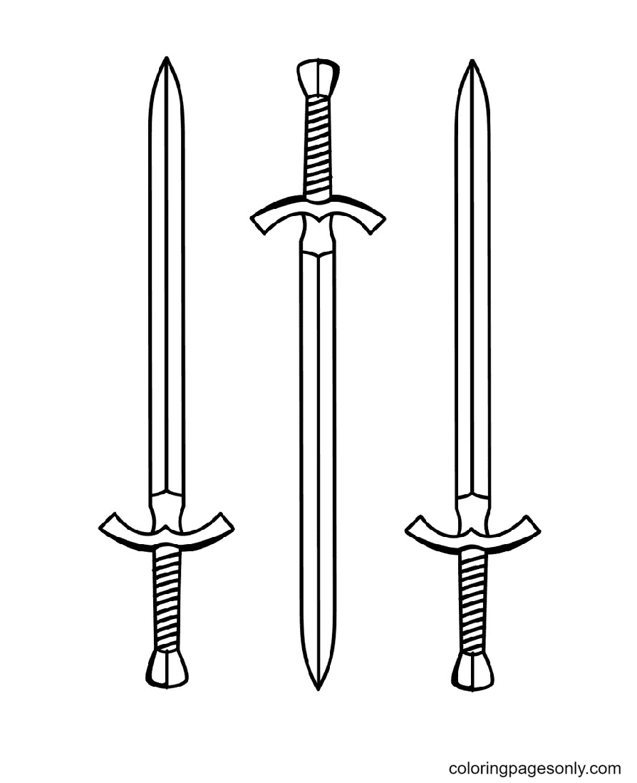 Sharp long sword Coloring Page