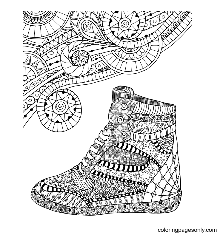 Shoes Free Printable Coloring Page