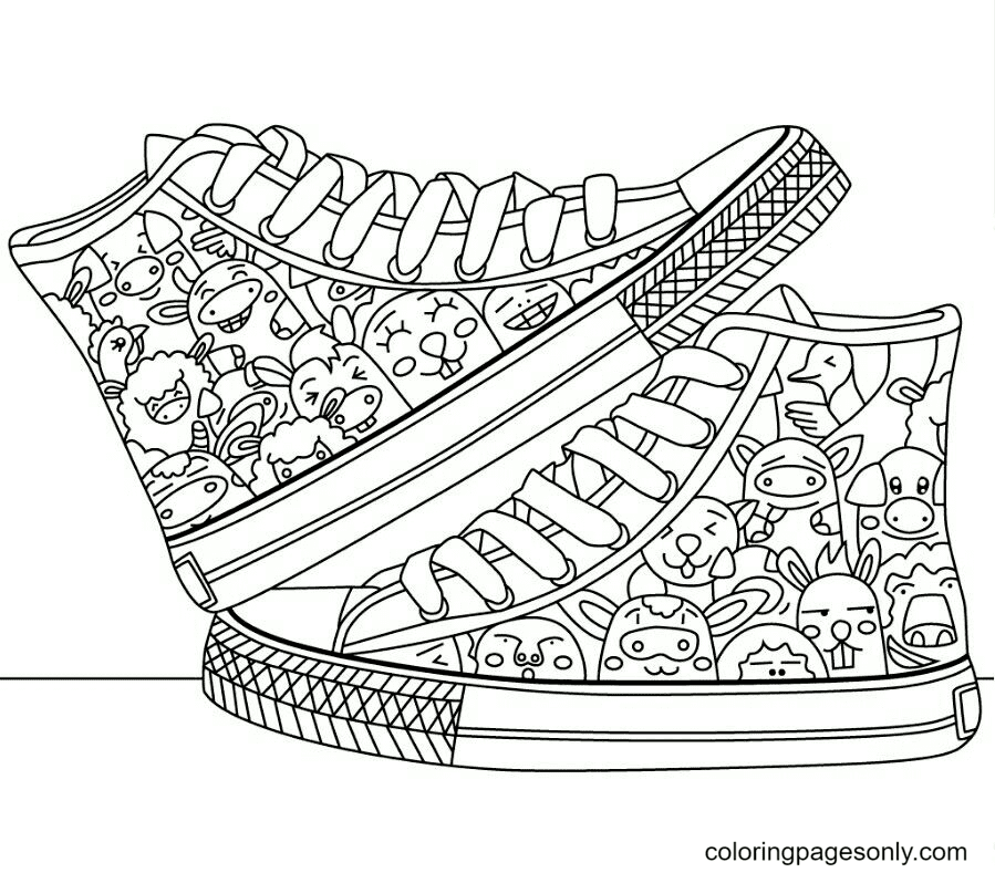 Shoes Printable Coloring Page