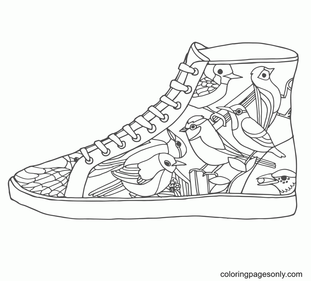 Shoes with Bird motifs Coloring Page