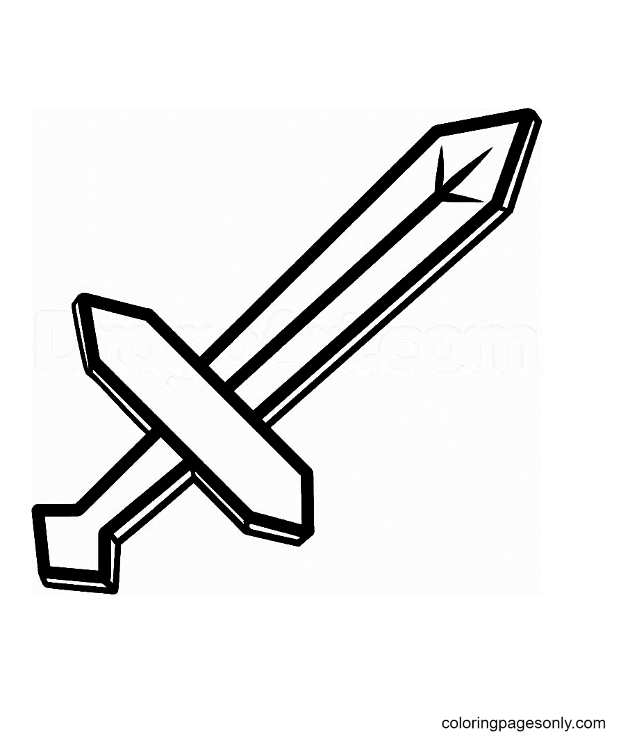 Simple Sword Coloring Page