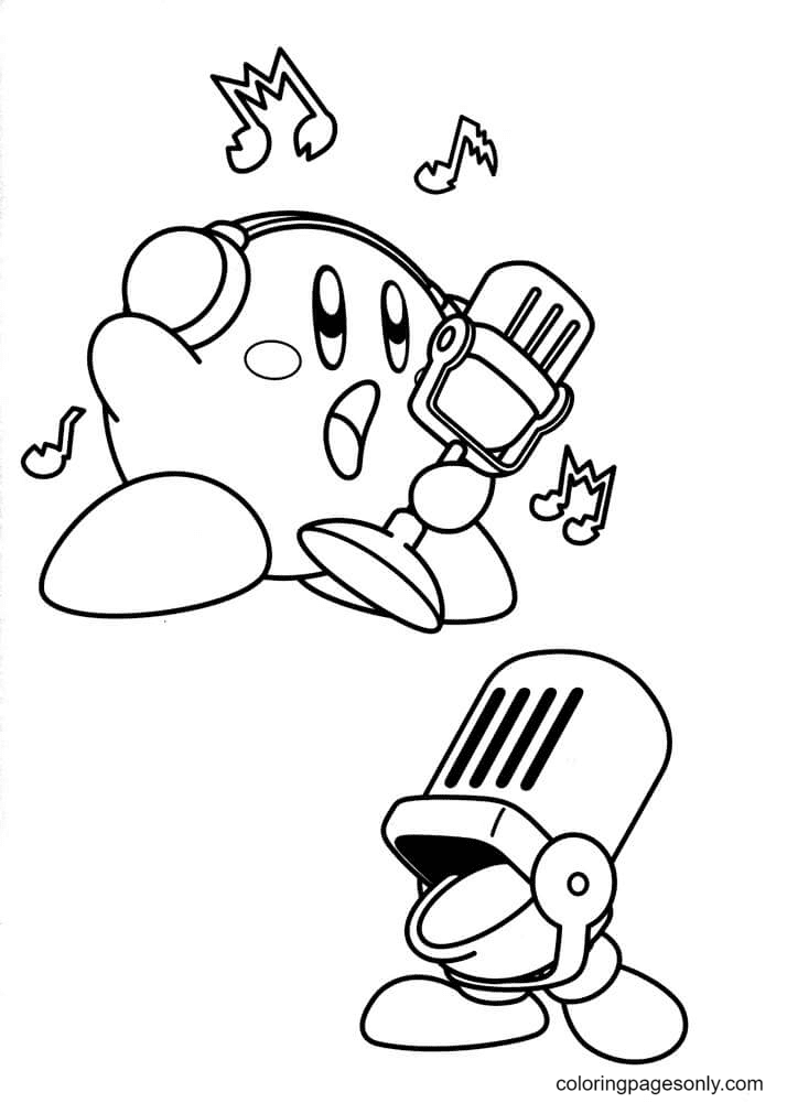 Singer Kirby Coloring Page