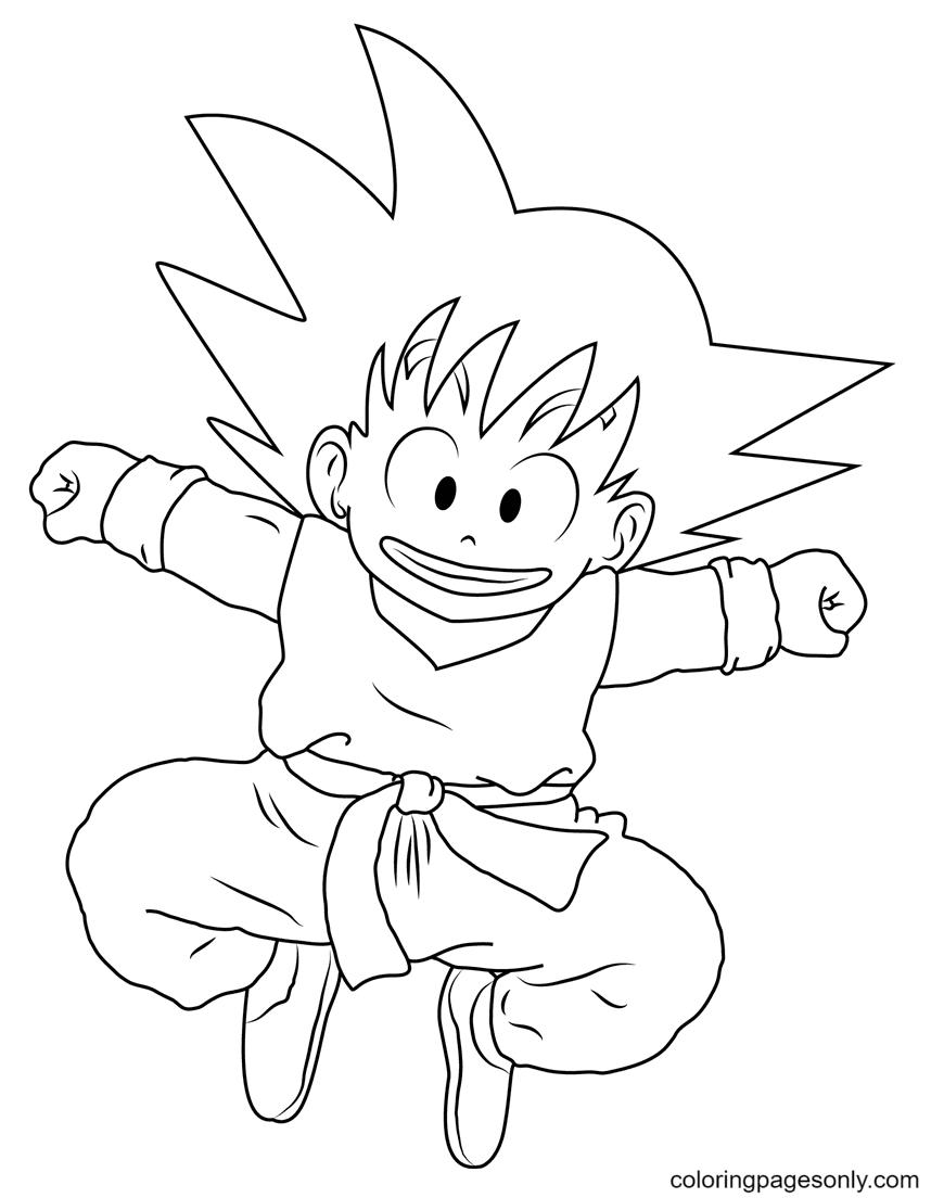 Smiling Goku Coloring Page