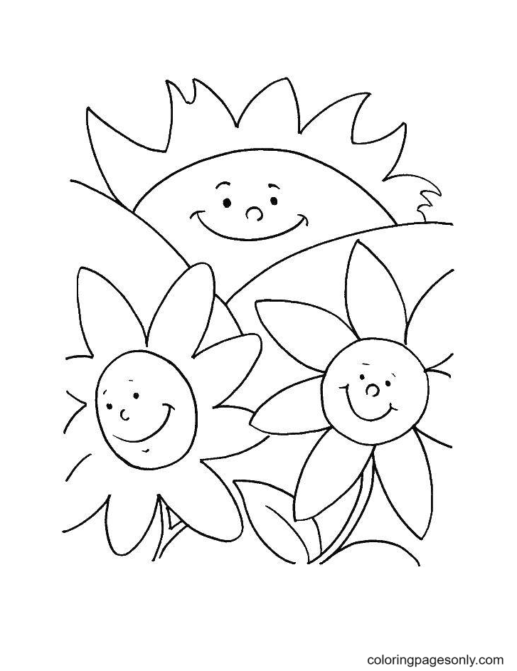 Smiling Sun and flowers summer Coloring Page