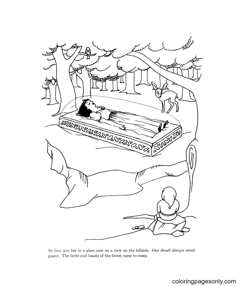 Snow White Sleeping Coloring Page