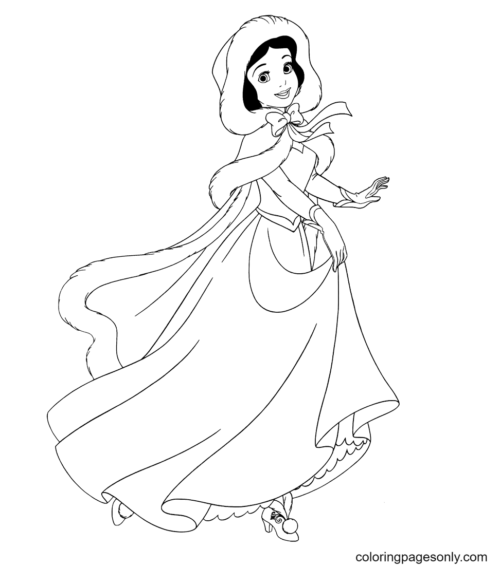 Snow White Sweet and Cheerful Coloring Page