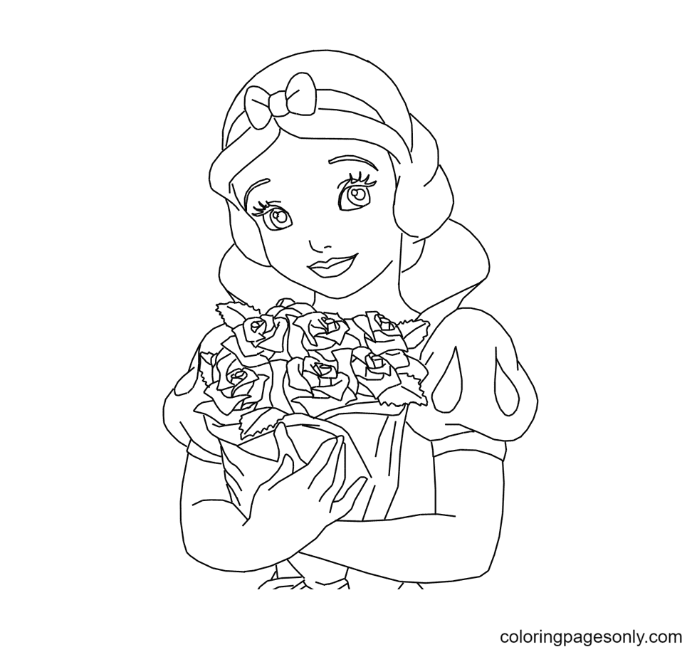 Snow White holds a bouquet of roses Coloring Page
