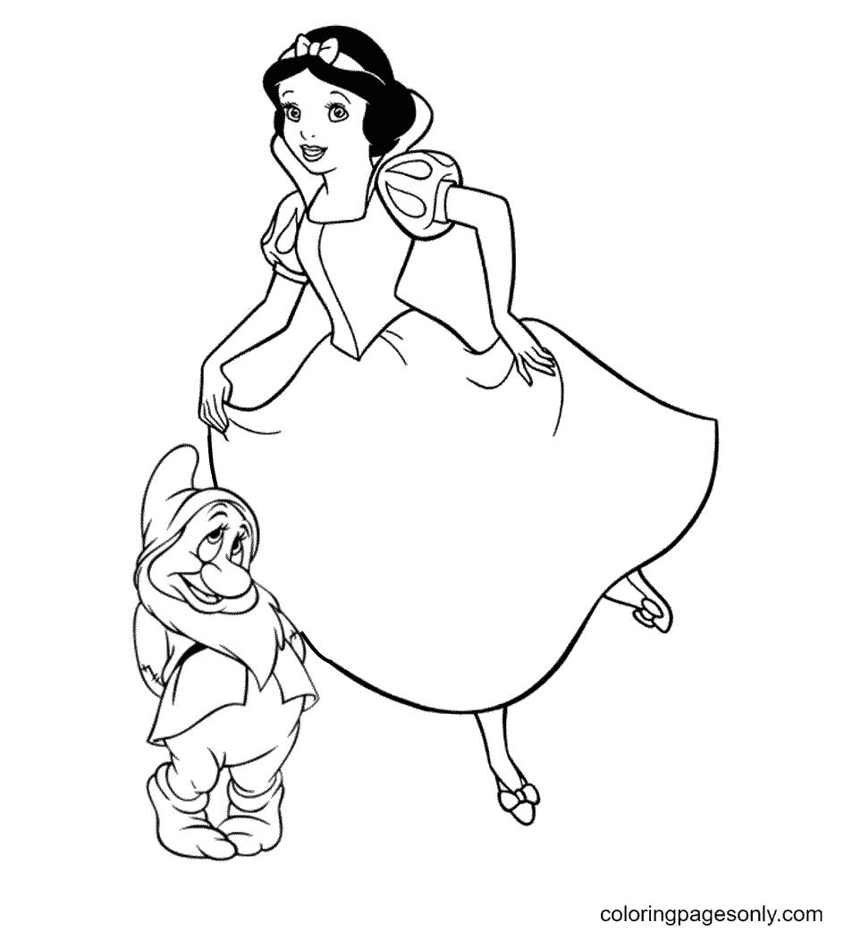 Snow White with Bashful dwarf Coloring Page