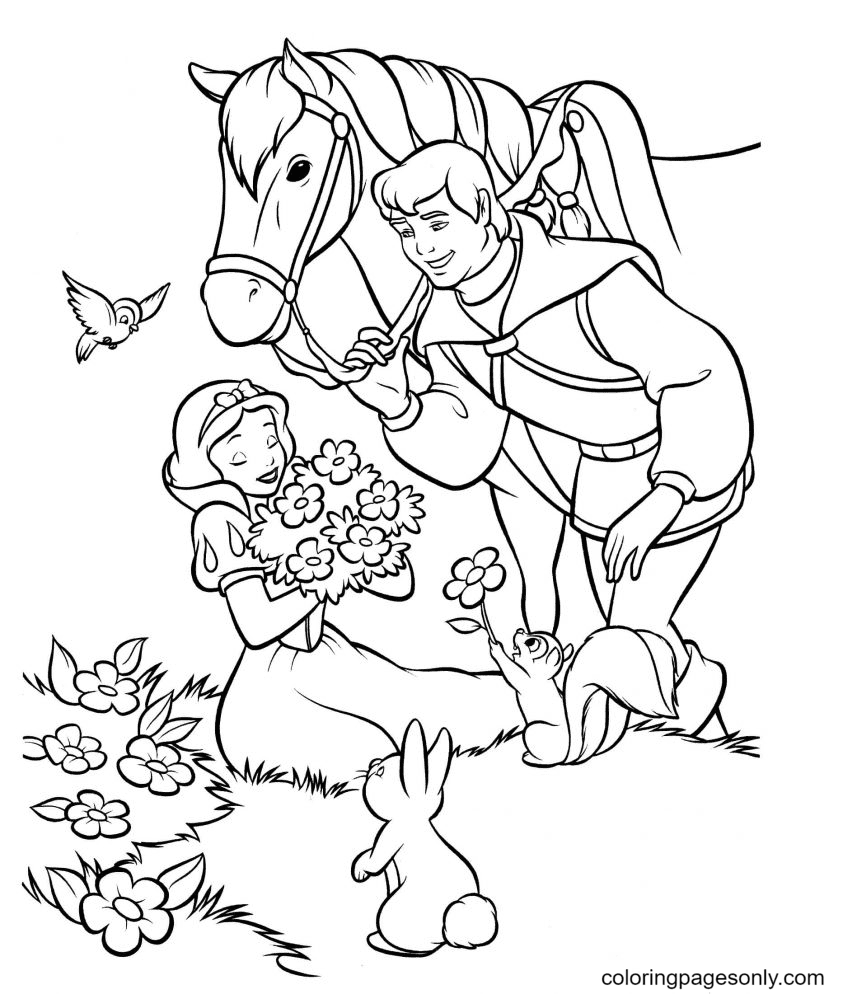 Snow white, Prince happily together Coloring Page