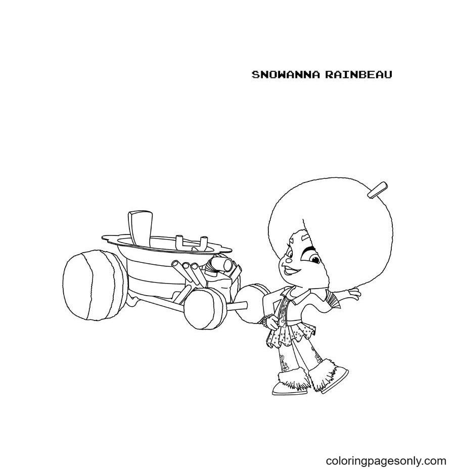 Snowanna Rainbeau and Her Racing Car Coloring Page