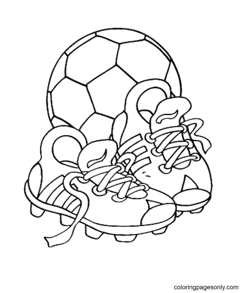 Soccer Shoes And The Ball Coloring Page