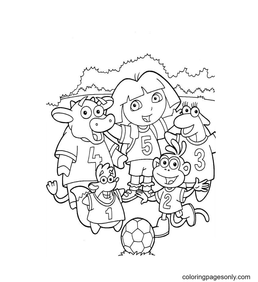 Soccer Team Coloring Page