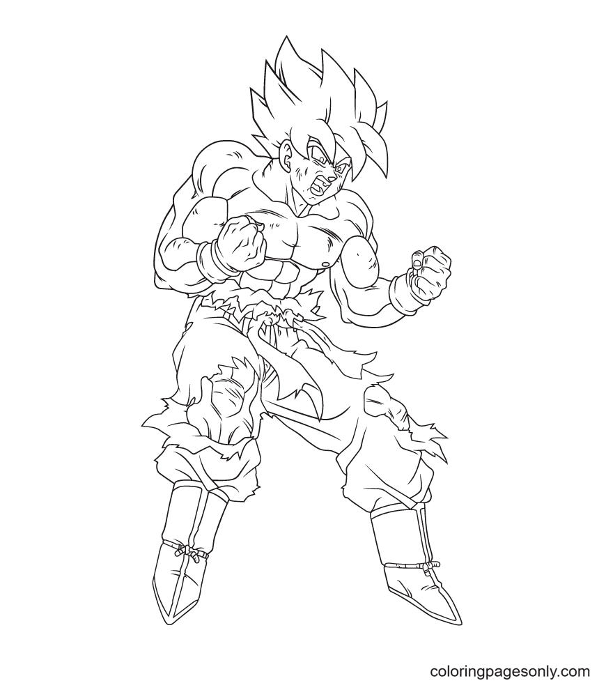 Son Goku Powerful Coloring Page