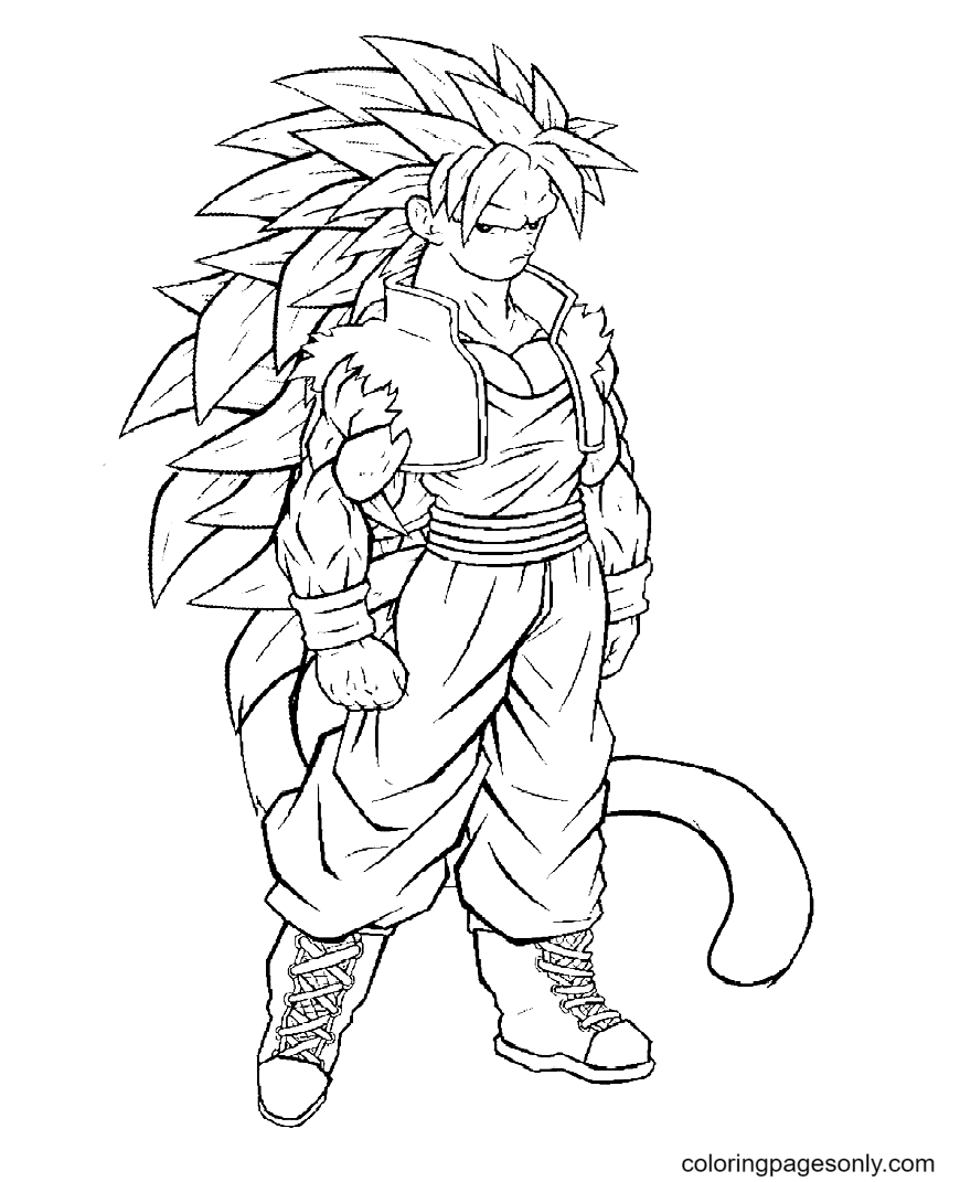 Son Goku in DBZ Coloring Page