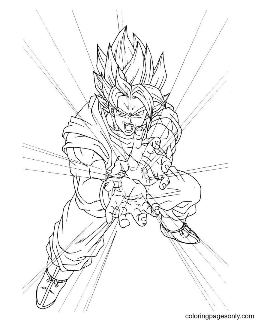 Son Gokuu Attack Coloring Page