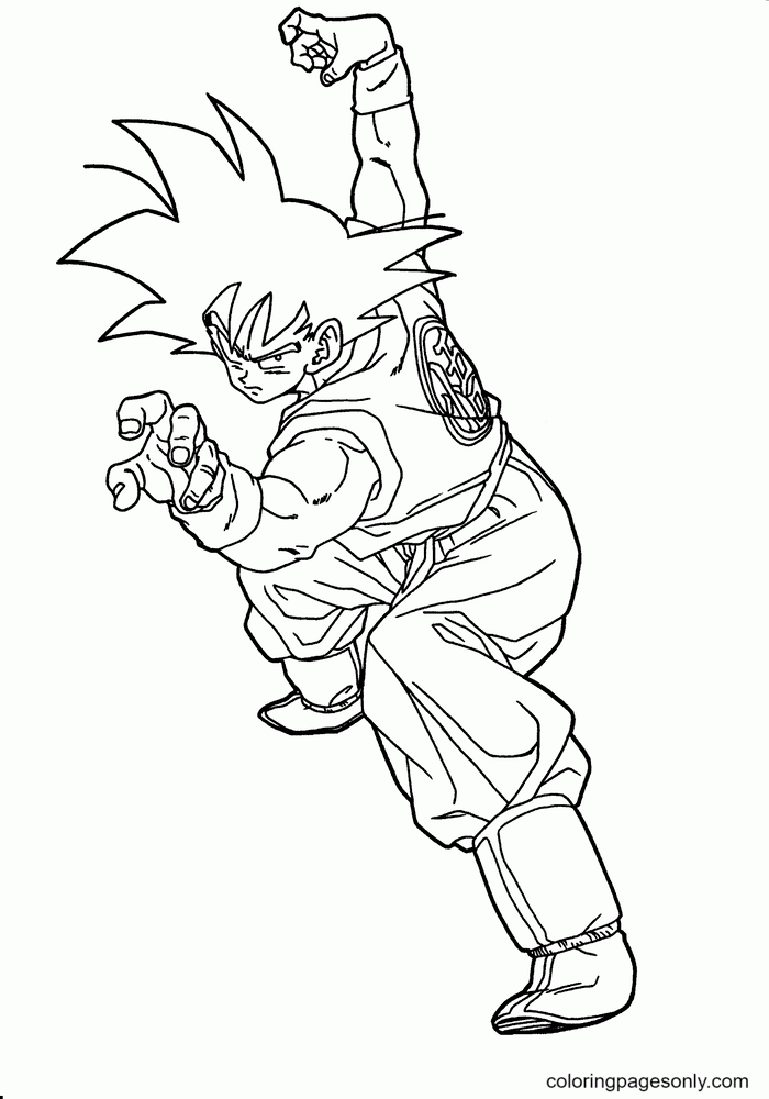 SonGoku from Dragon Ball Coloring Page