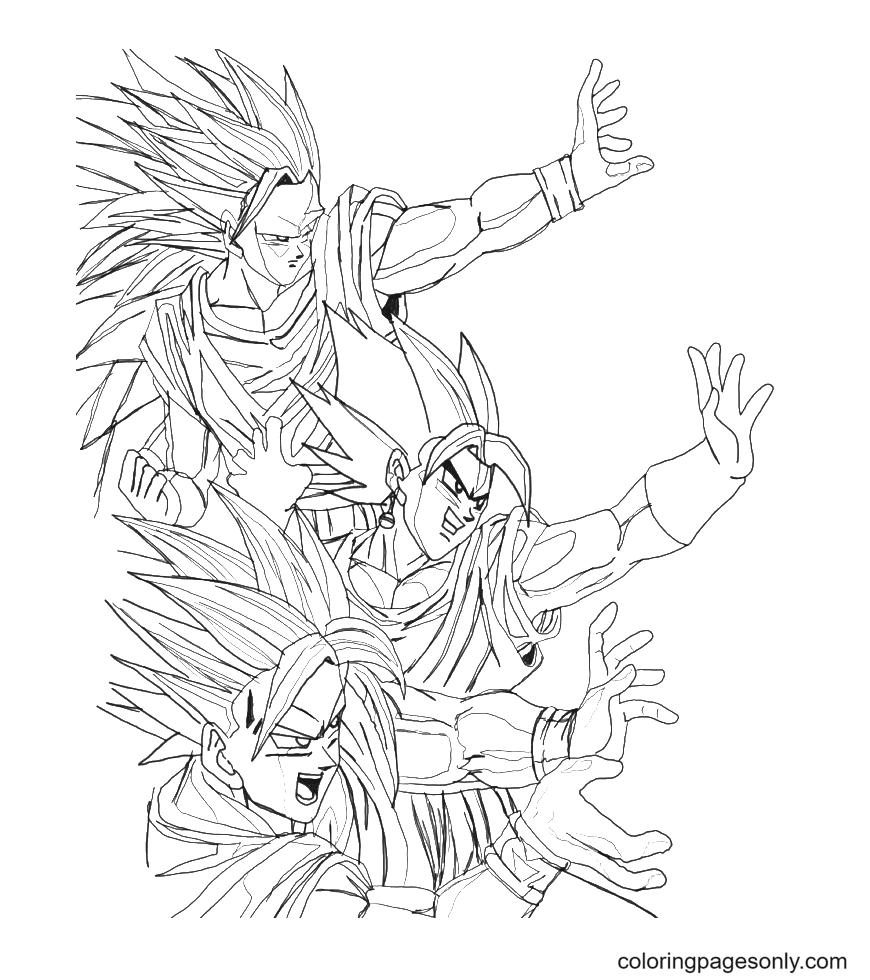Songoku and Vegeto Coloring Page