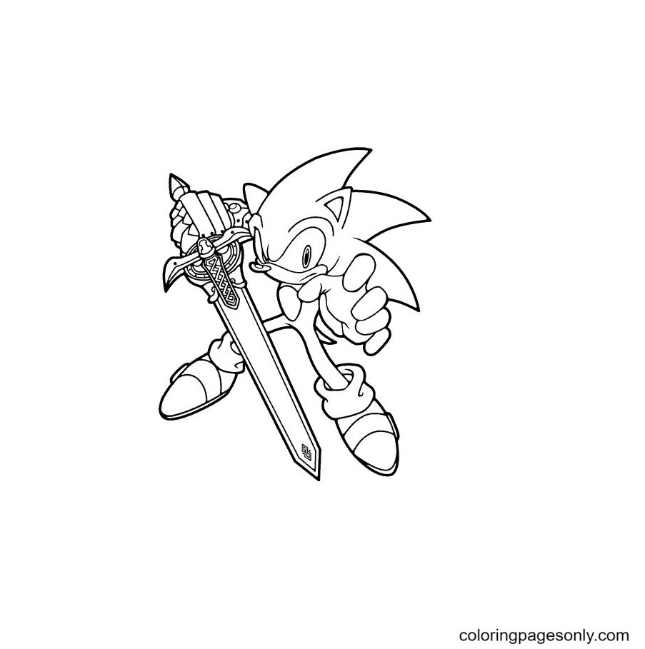 Sonic with Sword Coloring Page