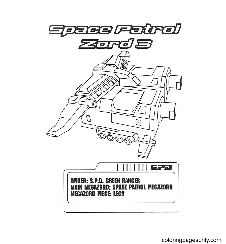 Space Patrol Zord 3 Coloring Page