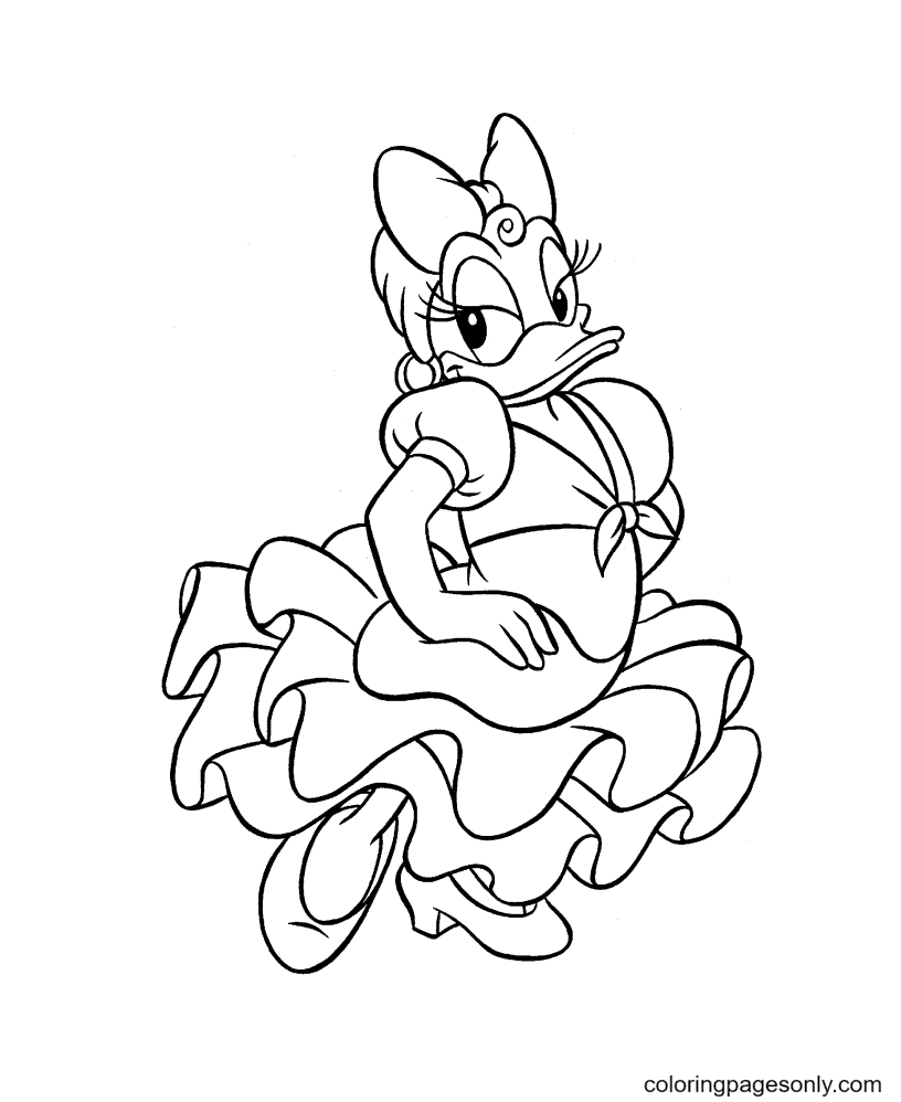 Spanish Dancer Daisy Duck Coloring Page
