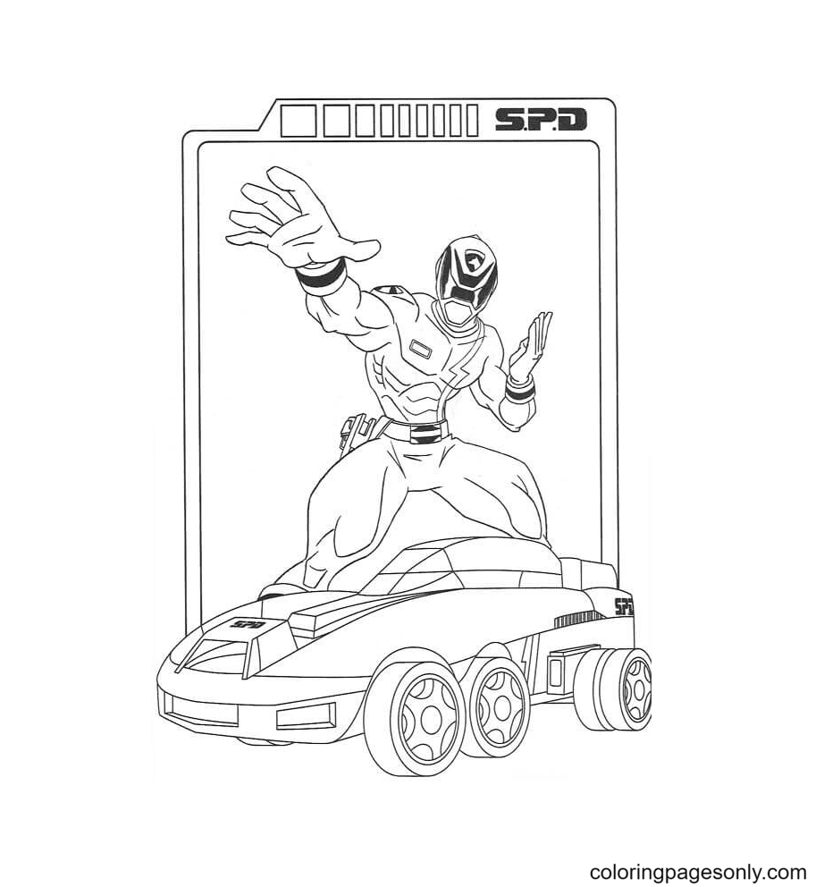Spd With His Vehicle Coloring Page