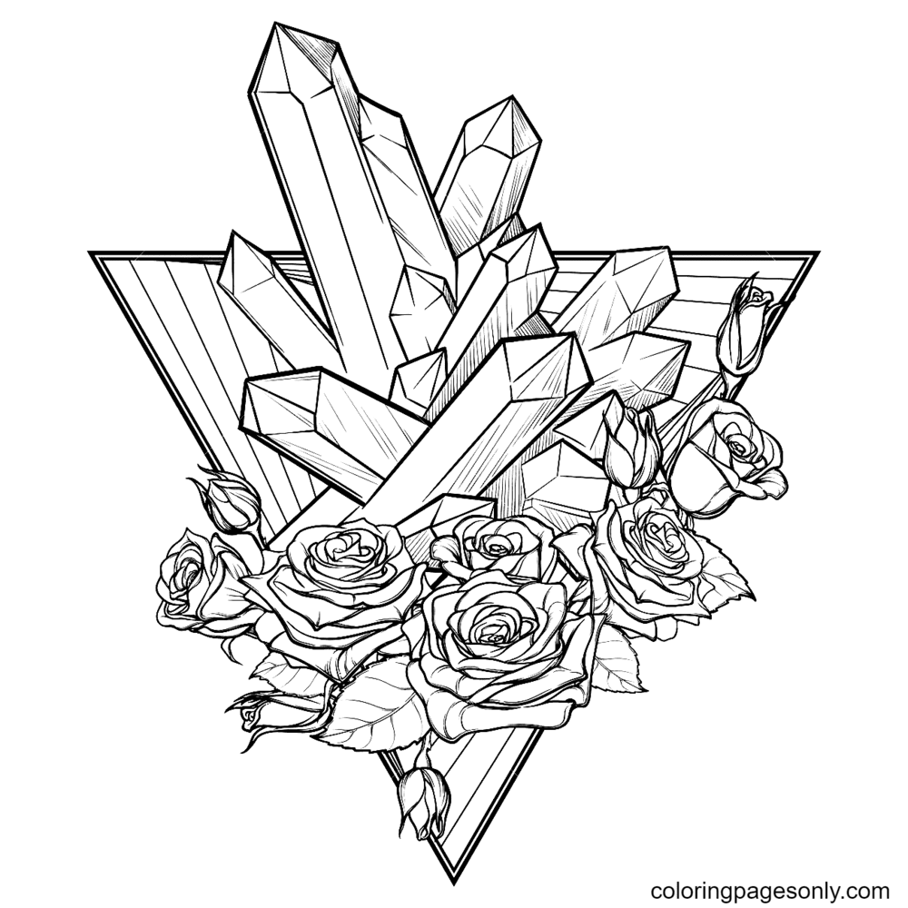 Spiky Crystals, Rose Garland and Down Pointing Triangle Coloring Page