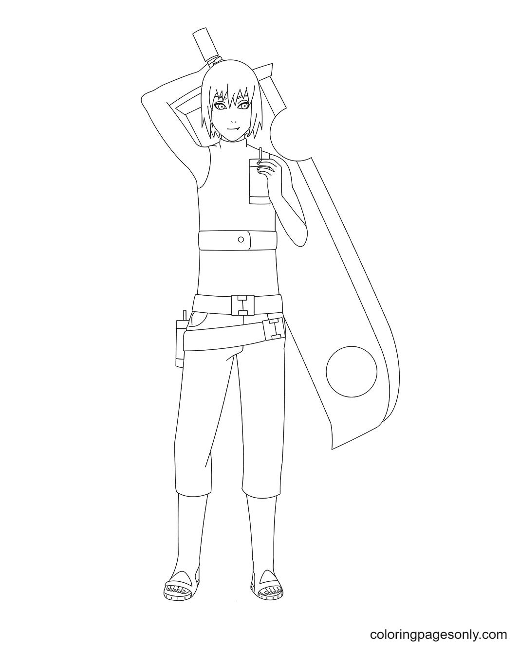 Suigetsu Hozuki with Sword Coloring Page