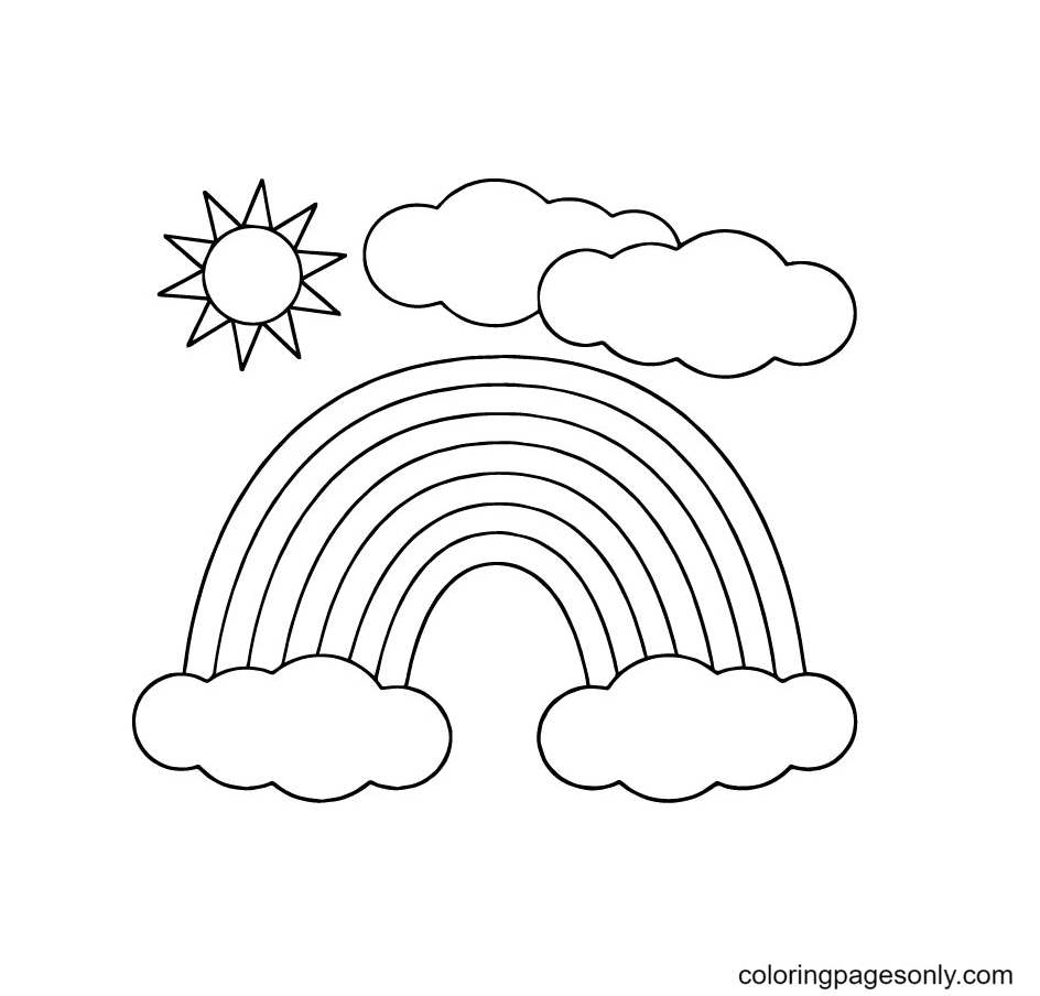 Sun Rainbow Coloring Page