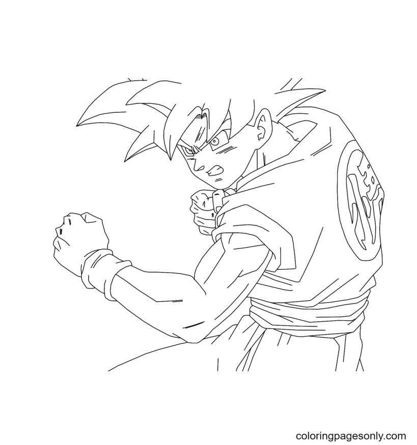 Super Saiyan Goku Son Coloring Page