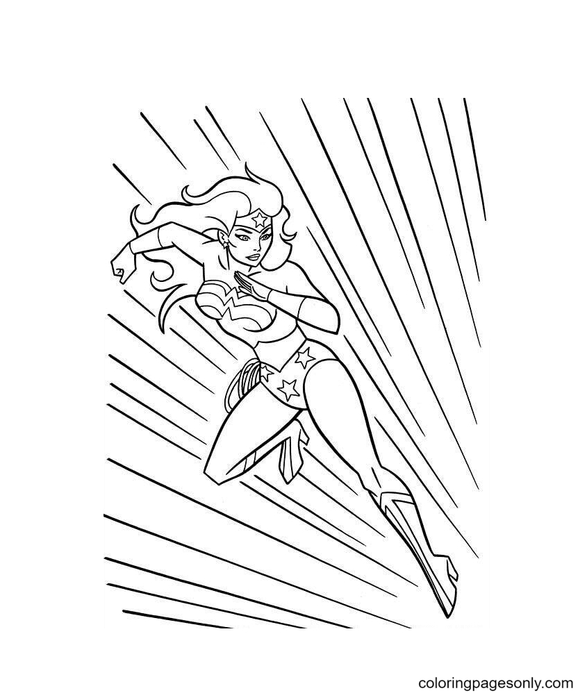 Super Speed Wonder Woman Coloring Page