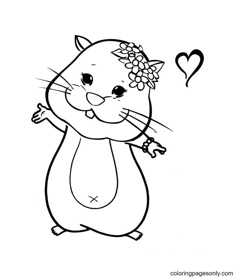 Sweet Hamster Printable Coloring Page
