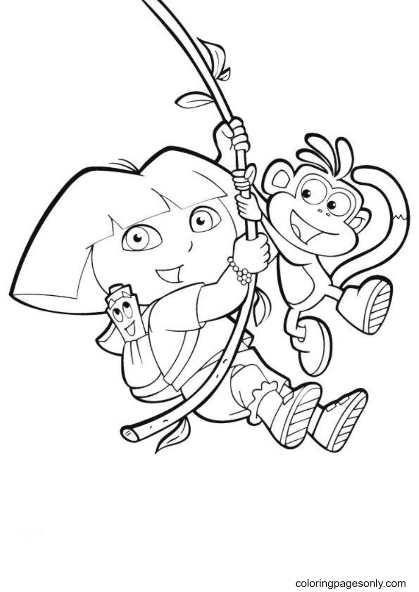 Swinging Monkey Boots and Dora Coloring Page