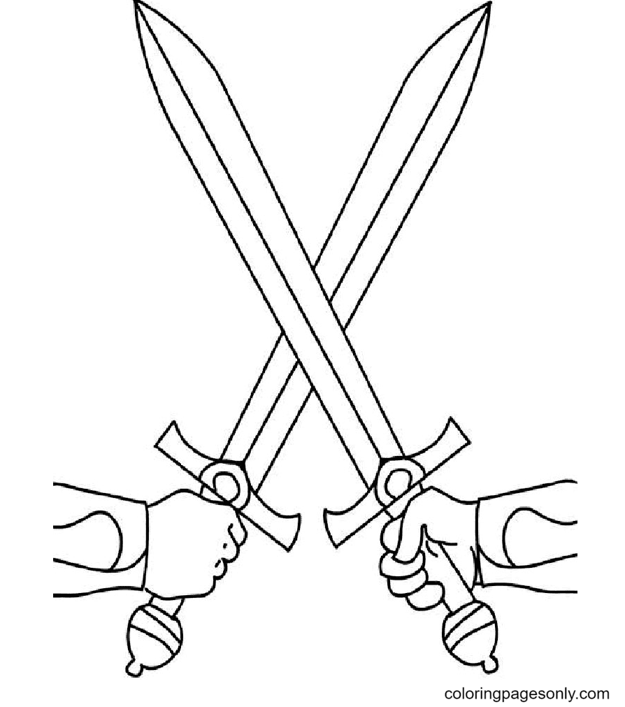 Sword Attack Coloring Page