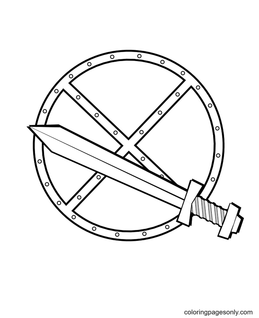 Sword and Shield Coloring Page