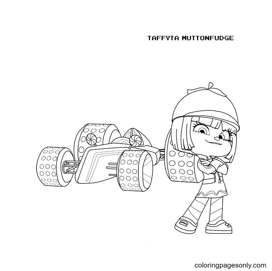 Taffyta Muttonfudge and Her Racing Car Coloring Page