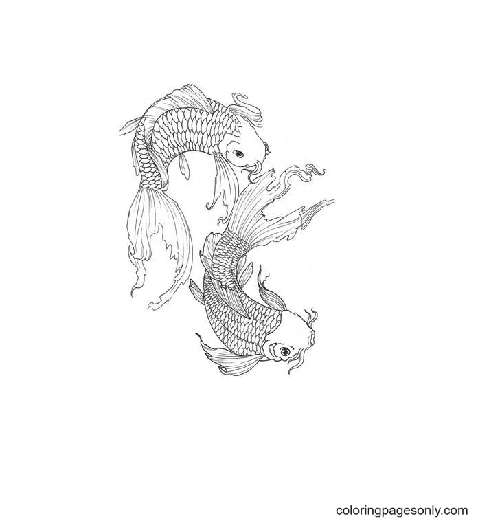 Tattoo Pisces Coloring Page